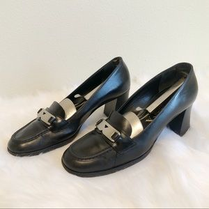 Prada Vintage Leather Logo Buckle Heeled Loafers